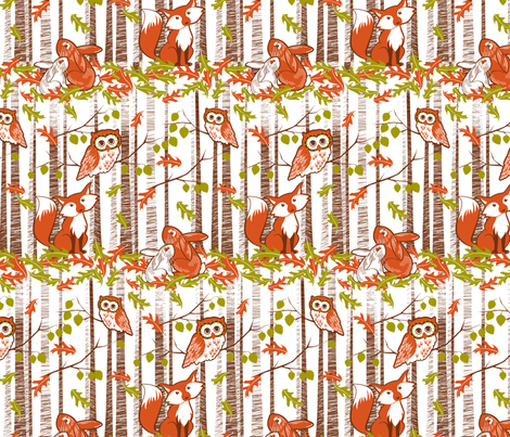 Autumn in the forest white fabric by cjldesigns on Spoonflower - custom fabric