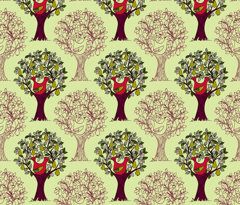 And a Partridge in a Pear Tree - Green fabric by woodledoo on Spoonflower - custom fabric