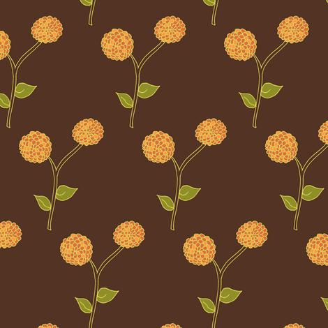 Golden Dahlia Blooms on Deep Brown fabric by rhondadesigns on Spoonflower - custom fabric