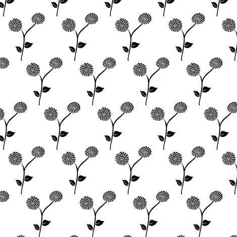 Black Frost Dahlia Garden fabric by rhondadesigns on Spoonflower - custom fabric