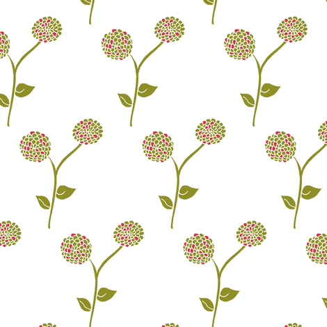 Spring Blooms in the Dahlia Garden. (Red and Green).  fabric by rhondadesigns on Spoonflower - custom fabric