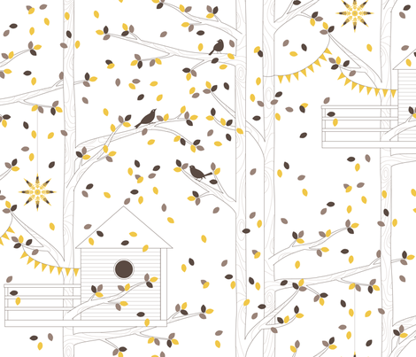 Treetop Getaway - Day version fabric by kayajoy on Spoonflower - custom fabric