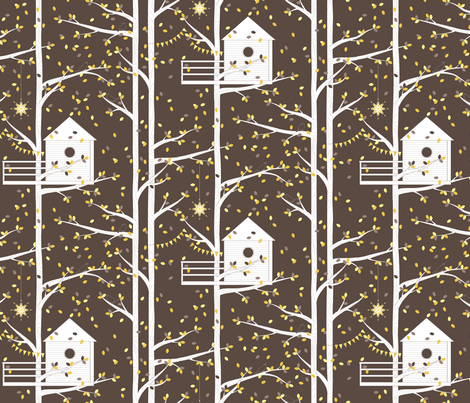 Treetop Getaway - Night - 5 colour fabric by kayajoy on Spoonflower - custom fabric