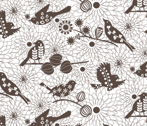 Nest Builders - dk grey fabric by kayajoy on Spoonflower - custom fabric