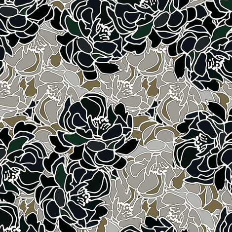 Blossoms in Black Patina Collection fabric by joanmclemore on Spoonflower - custom fabric