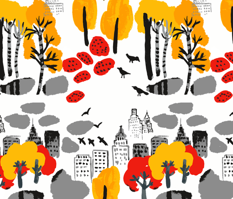 Autumn in the city fabric by chulabird on Spoonflower - custom fabric
