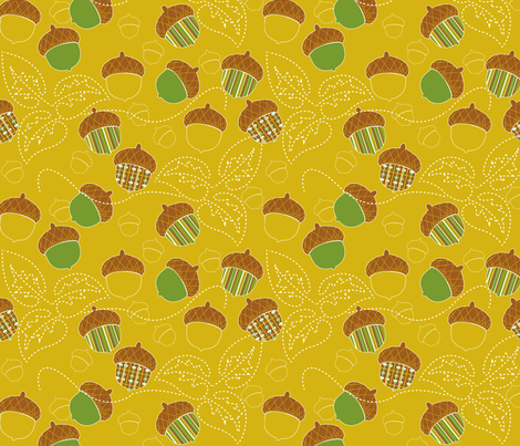 A is for Acorn! fabric by minniemeatdaydreamstudio on Spoonflower - custom fabric