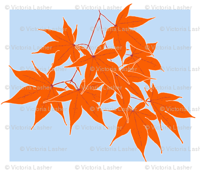 First frost on the Japanese Maple - pillow top, back with your choice of coordinating fabric