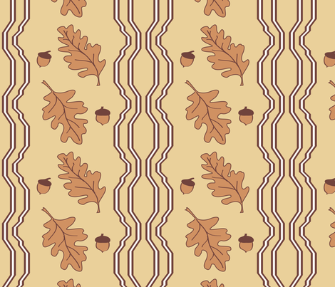 Oak Leaves and Acorn Border fabric by creative8888 on Spoonflower - custom fabric