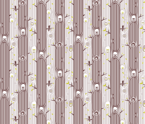 Autumn Owl Tree Stripe fabric by ttoz on Spoonflower - custom fabric