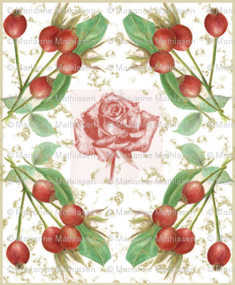 The Rose Hip Cottage Dream, read, rose, pink, green, yellow
