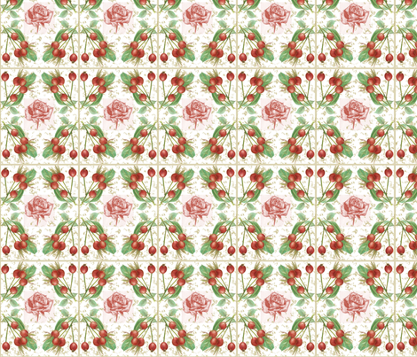 The Rose Hip Cottage Dream, read, rose, pink, green, yellow fabric by mariannemathiasen on Spoonflower - custom fabric