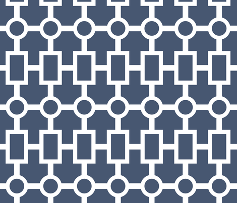 geometric chain in navy fabric by domesticate on Spoonflower - custom fabric