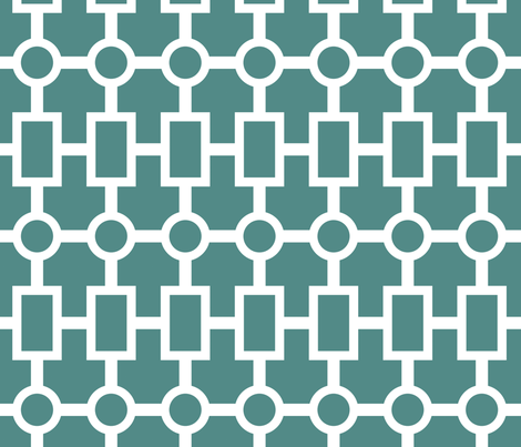 geometric chain in teal fabric by domesticate on Spoonflower - custom fabric