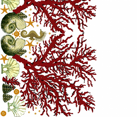 Red Coral Seahorse border fabric by paragonstudios on Spoonflower - custom fabric