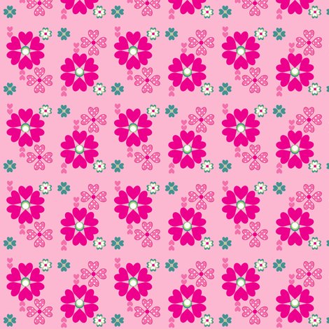 Ditsy Print in Bubblegum fabric by delsie on Spoonflower - custom fabric