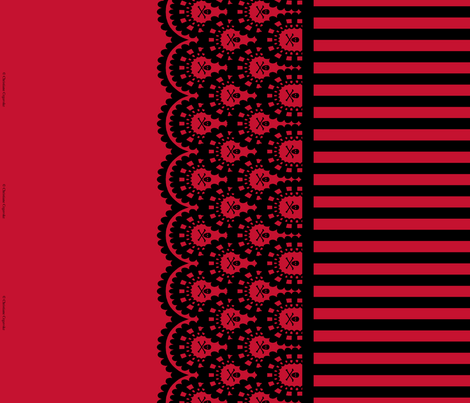 Skull and Crossbones Lace Border and Stripe - red and black - 1/2 inch stripe fabric by littlemisscrow on Spoonflower - custom fabric