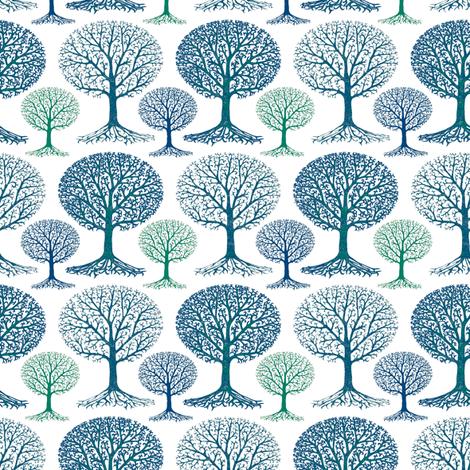 Winter Trees fabric by kezia on Spoonflower - custom fabric