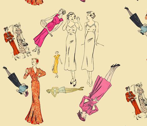 30s pinups fabric by nalo_hopkinson on Spoonflower - custom fabric