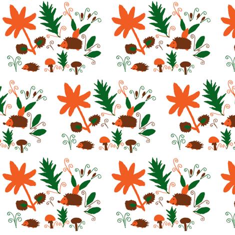 Hedgehog Fun in Autumn fabric by angelsgreen on Spoonflower - custom fabric