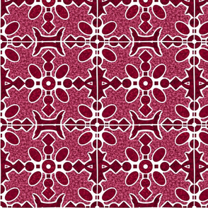 Marble Mosaic Large Tiles in Berry