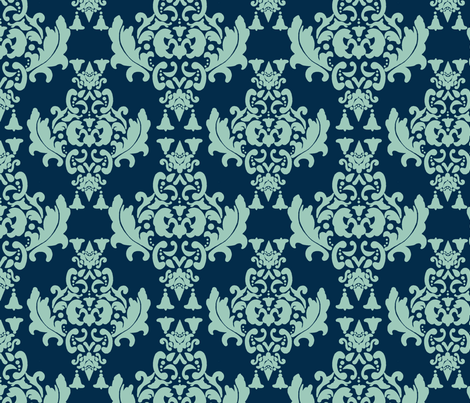 Delicious Damask- Spoonflower Green on Navy Blue fabric by mayabella on Spoonflower - custom fabric