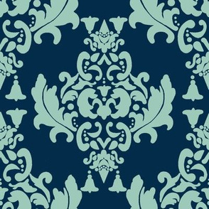 Delicious Damask- Spoonflower Green on Navy Blue