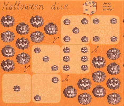 Halloween dice fabric by zandloopster on Spoonflower - custom fabric