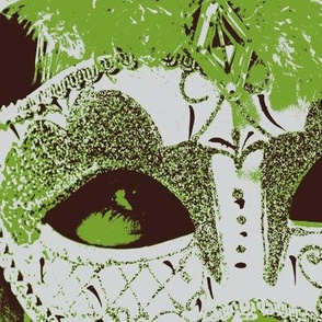 Venetian Mask Green Brown