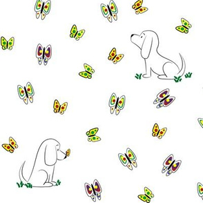 Doodle Bassets and Butterflies