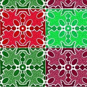 Marble Mosaic Patchwork Tiles in Reds and Greens