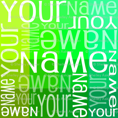 Personalised Name Fabric - Green Sampler