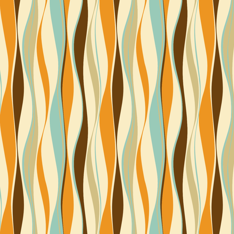 wavy lines retro fabric by threebranchesdesign on Spoonflower - custom fabric