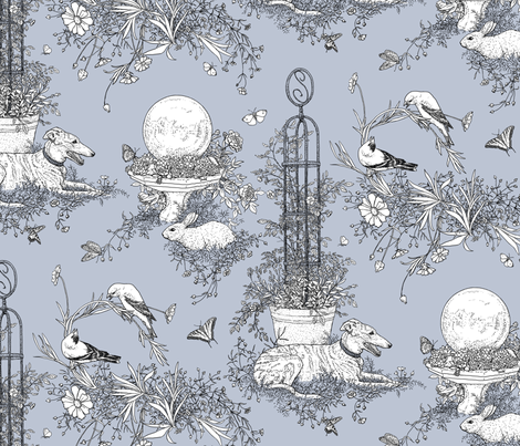 My Garden Toile Main Large Grey ©2011 by Jane Walker fabric by artbyjanewalker on Spoonflower - custom fabric