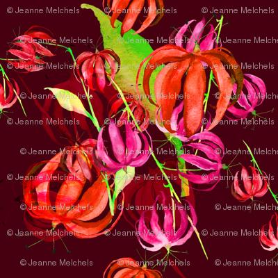 tropical flowers dark red