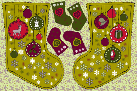 Stocking - Baubles fabric by woodledoo on Spoonflower - custom fabric
