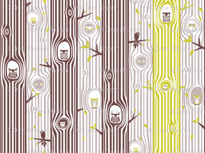 Autumn Owl Tree Stripe, Green