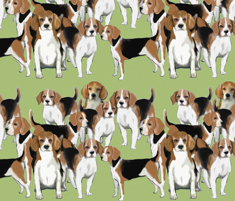 A pack of Beagles fabric by dogdaze_ on Spoonflower - custom fabric