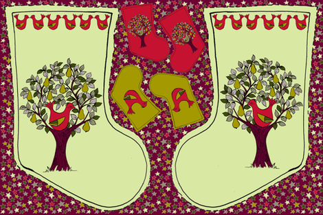 Partridge in a Pear Tree - Christmas Stocking fabric by woodledoo on Spoonflower - custom fabric