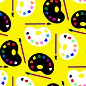 art supplies on yellow