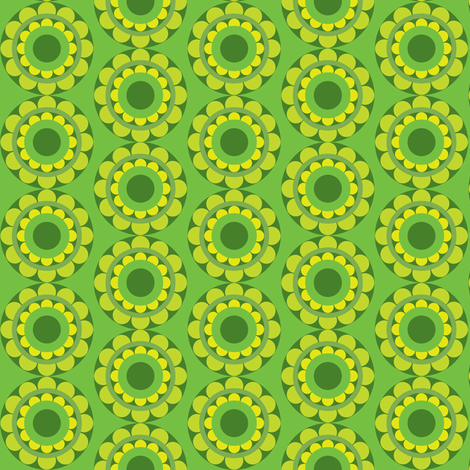 retflower_green fabric by lilliblomma on Spoonflower - custom fabric