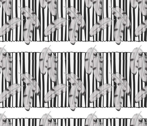 Feathers and Stripes B&W fabric by lpulverworks on Spoonflower - custom fabric