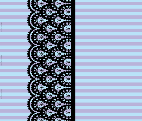 Black Skull and Crossbones Lace Border and Blue and Lavender 1/2 inch Stripe fabric by littlemisscrow on Spoonflower - custom fabric