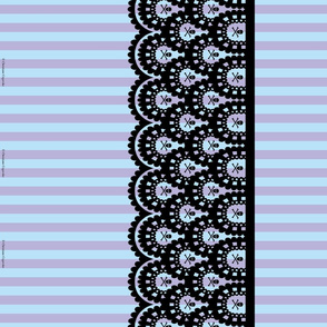 Black Skull and Crossbones Lace Border and Blue and Lavender 1/2 inch Stripe