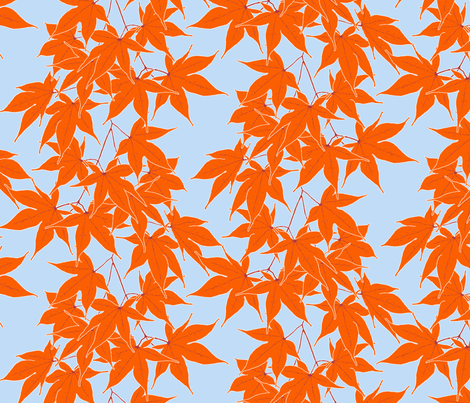 First frost on Japanese maple - smaller, repeating leaves fabric by victorialasher on Spoonflower - custom fabric