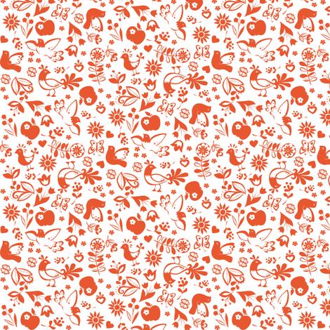 folklorique_orange fabric by johanna_design on Spoonflower - custom fabric