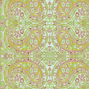 paisley green-honey-red