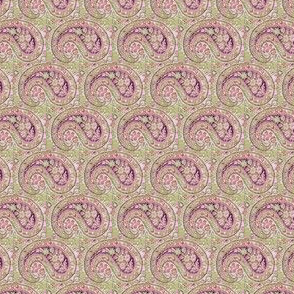 paisley green-lilac-red small