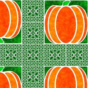 Marble Mosaic Pumpkin Grid in Green