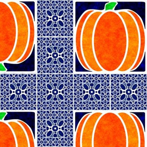 Marble Mosaic Pumpkin Grid in Blue